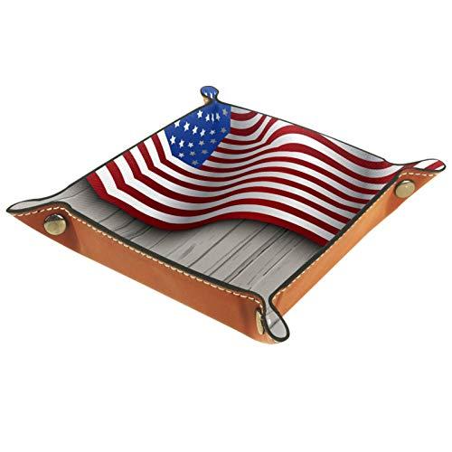 Bandeja de Valet Cuero para Hombres - Bandera americana en tablero de madera gris - Caja de Almacenamiento Escritorio o Aparador Organizador,Captura para Llaves,Teléfono,Billetera,Moneda