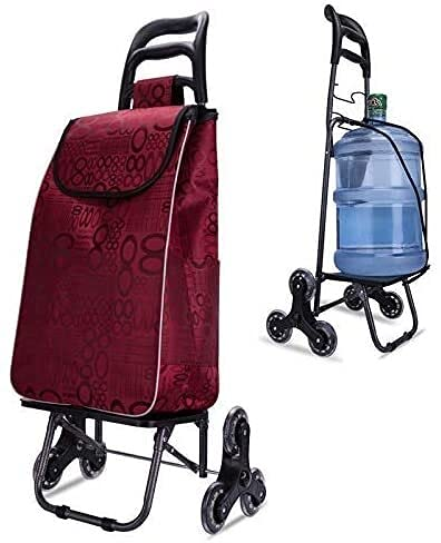 Folding Shopping Cart , Stair Climber Trolley Shopping Trolley,Folding Shopping Cart, Stair Climbing Cart Holds Up To 154 Lbs/70kg, Light Weight Trolley With Rolling 6 Wheel Bold ( Color : Red )