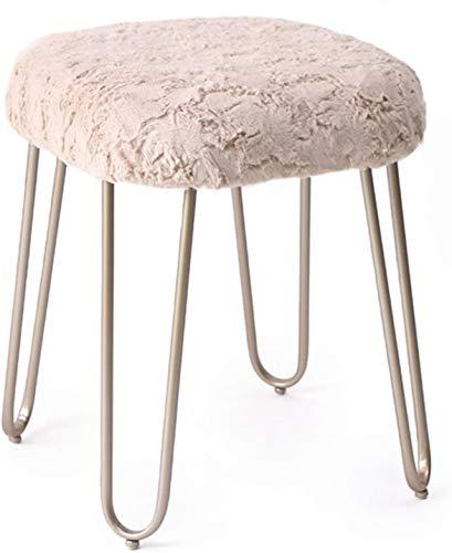 Taburete de vanidad de metal - asiento acolchado de peluche corto suave - tocador, sala de estar, dormitorio y sillas de habitación para niños - patas de metal tapiz tapizadas para muebles decorativos