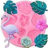 FGHHT Molde de Silicona con Tema Tropical Flamingo Flor Rosa Hoja de Tortuga Dulces moldes de Fondant de Chocolate Herramientas de decoración de Pasteles de Fiesta de Verano
