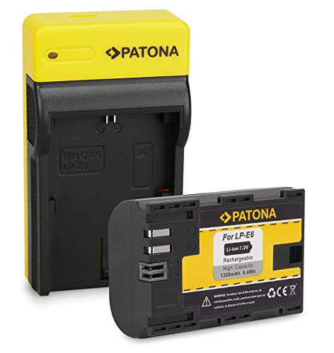 PATONA Batería LP-E6 con Estrecho Cargador Compatible con Canon EOS R, 5D Mark II III IV, XC15, 70D, 80D, 90D