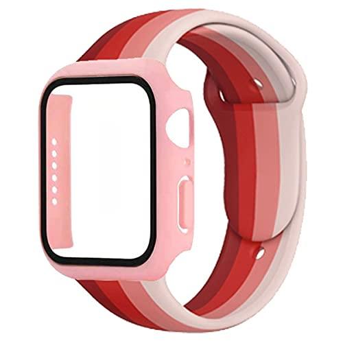 HBNNBV Caja de Vidrio + Correa Sports Silicone Wamkband Compatible con Apple 40mm 44mm 42mm 38mm Apple Watch 6 5 SE 4 Cierre de reemplazo (Band Color : Rainbow 43, tamaño : 42mm)