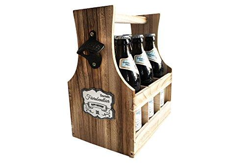 SNEG Flaschenträger aus leichtem Holz | Bierträger | Handwerker | Six-Pack | Männerhandtasche mit Schild-Gravur oder Holzgravur | Party | Freizeit | Grillen | geflammtes Holz (mit Schild-Gravur)