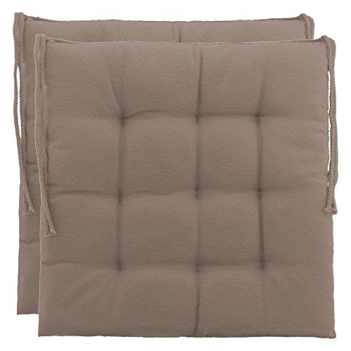 BrandssellerCojín decorativo de asiento para silla de jardín, 9 pespuntes, varios diseños, poliéster, arena, 2er-Paket