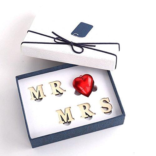 USB Speicher Laufwerk LUCKCRAZY Geschenkset Rotes Herz 16GB USB Stick MR Love MRS für Hochzeitskunden Freund Freundin Verlobter