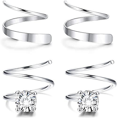 Milacolato 925 Pendientes de aro de doble torsión de plata esterlina para mujer Star Heart CZ Fashion Ear Climber Wrap Cuff Pendientes Set