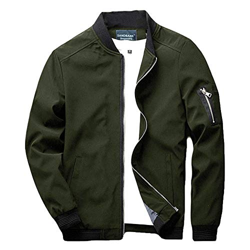 sandbank Men's Slim Fit Lightweight Sportswear Flight Bomber Jacket Softshell Casual Coat (US 3XL,Army Green)