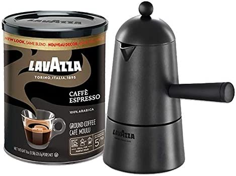 Lavazza Carmencita Gift Pack Stovetop Maker Espresso Italiano 8 Oz Tin Can Black Packaging may product image