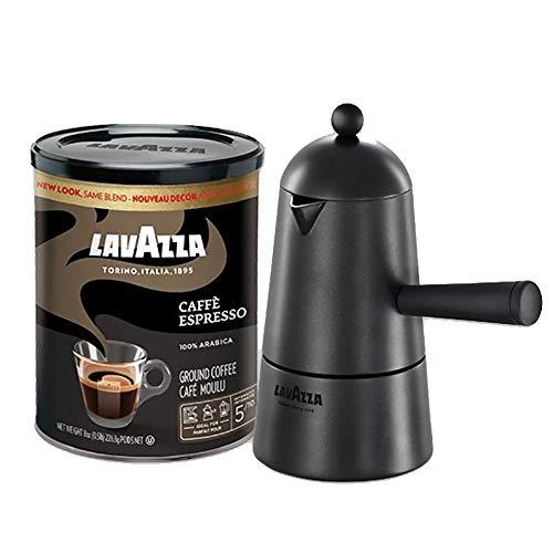 Lavazza Carmencita Gift Pack, Stovetop Maker & Espresso Italiano 8 Oz. Tin Can, Black (Packaging may vary)