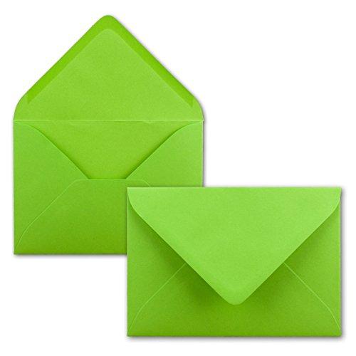 50 Brief-Umschläge - Hell-Grün - DIN C6-114 x 162 mm - Kuverts mit Nassklebung ohne Fenster für Gruß-Karten & Einladungen - Serie FarbenFroh®