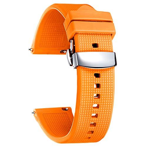 BINLUN Correas Reloj de Silicona 18mm 19mm 20mm 21mm 22mm 24mm Correas de Relojes para Hombre y Mujer, Pulseras de Repuesto de smartwatches de Liberación Rápida con 8 Colores