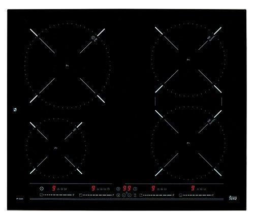 TEKA IT 6420 Induktions-Kochfeld 60 cm, Induktionskochplatte mit 4 Kochzonen, schwarzes Glas & Metallrahmen