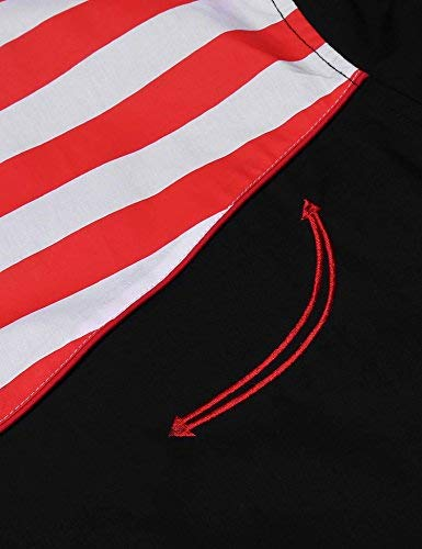 COOFANDY Men's Fashion Button Down Shirts Casual American Flag Long Sleeve Shirt, Black, XX Large