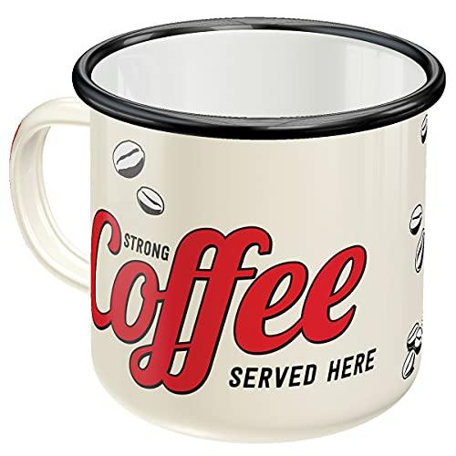 Nostalgic-Art, Taza esmaltada de estilo retro con texto en inglés 'Strong Coffee Served Here' – Idea de regalo para los amantes del café, taza de camping, diseño vintage, 360 ml