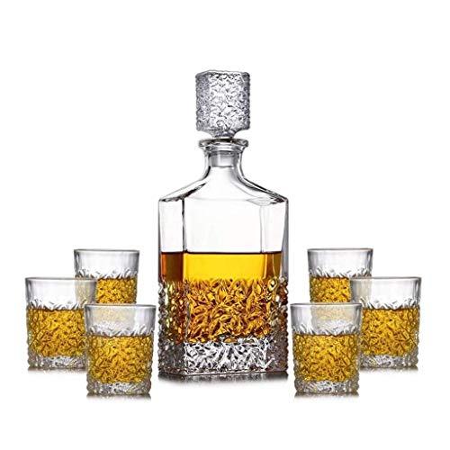 PIVFEDQX Juego De Botellas De Whisky De Cristal Sin Plomo (850 Ml) con 6 Vasos De Whisky Juego De Cajas De Regalo De Botellas De Cristal Whisky O Licor Bourbon