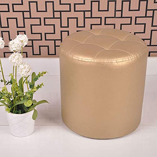 YQG Leather Footstool, Wood Upholstered Pouffe Foot Stool Dressing Room Bedroom Living Room Round Small Chair Change Shoe Stools,Gold