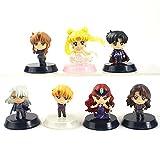 5,5 Cm 7 Unids / Set Sailor Moon Aniversario Dark Kingdom Queen Beryl Princesa Serenidad Navidad Versión PVC Figuras Modelo Juguetes