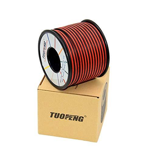 TUOFENG 18awg Silikon Elektrokabel, Verlängerungskabel 40 Meter [Schwarz 20 m Rot 20 m] 2 Leiter Parallele Drahtleitung Weiche und flexible 18-Gauge-Anschlüsse sauerstofffreie Litzen Kupferdraht