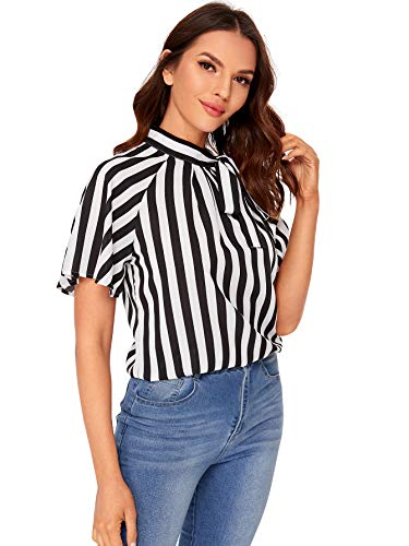 Fashion Shopping SheIn Women's Casual Side Bow Tie Neck Short Sleeve Blouse Shirt Top