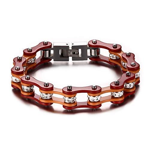 Top-Qualität Edelstahl Fahrradkette Motorradkette Armkette, Hochglanz Rot Orange Farbe Poliert, Ergänzen Sie Ihr Erscheinungsbild Hervorhebung des Selbst