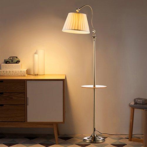 Viqie Wohnzimmer Stehlampe Stehlampe aus Schmiedeeisen Stoff 160 * 30cm Wohnzimmer amerikanisches Nordic Sofa Lampe Couchtisch moderner einfache Station Stehleuchte (Color : Bronze)