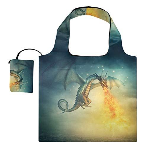 Bolsas de compras reutilizables – Dragón Fuego volador plegable grande bolsa de tela de reciclaje portátil con bolsa