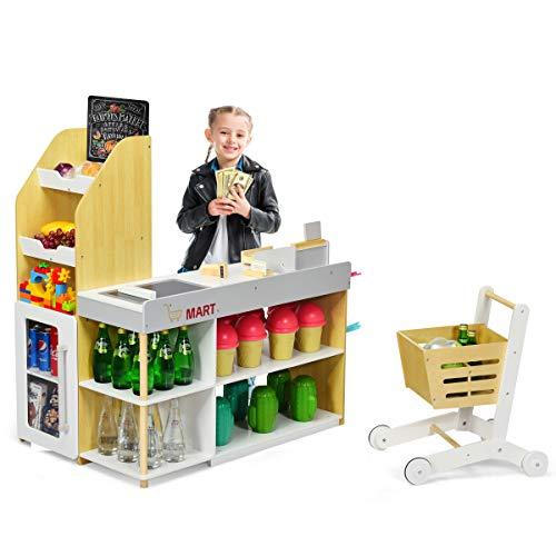 COSTWAY Supermarkt mit Einkaufswagen, Supermarktstand mit Tafel, inkl. Registrierkasse, Scanner, Kartenlesegerät, Kreditkarte und Münzen, Rollenspielzeug für Kleinkinder ab 3 Jahre alt
