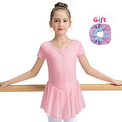 Sinoem - Maillot de Ballet para niña, de Manga Corta y Larga, de Manga Corta, con Vestido de Gasa, Color Sin Mangas, Color Rosa, tamaño L (130,7-8Jahre