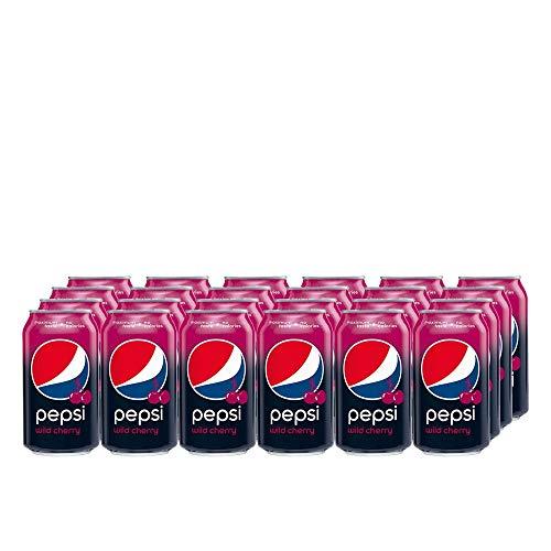 Pepsi Cola Wild Cherry (24 x 330ml) Erfrischende Cherry Cola mit Kirschgeschmack (no Calorie) zuckerfrei / ZERO