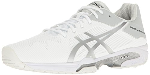 ASICS Men's Gel-Solution Speed 3 Tennis Shoe, White/Silver, 10 M US