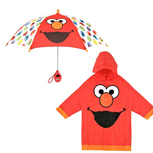 Sesame Street Little KidsUmbrellaandSlicker, Elmo Rainwear Set for Boy