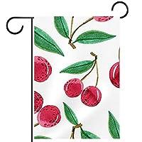 ガーデンヤードフラッグ両面 /12x18in/ ポリエステルウェルカムハウス旗バナー,赤い桜模様