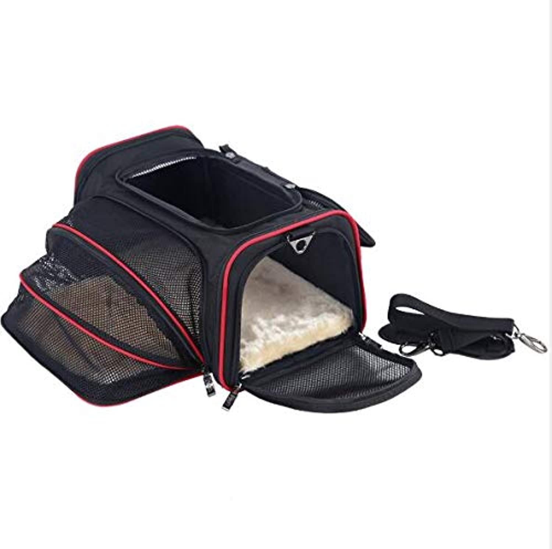 Pet Travel Backpack Comfortable Duplex Scalable Foldable Pet Holder, Soft Side Dog Bracket, Large Zip Open Top Cat Holder (M  46cm x 28cm x 28cm)