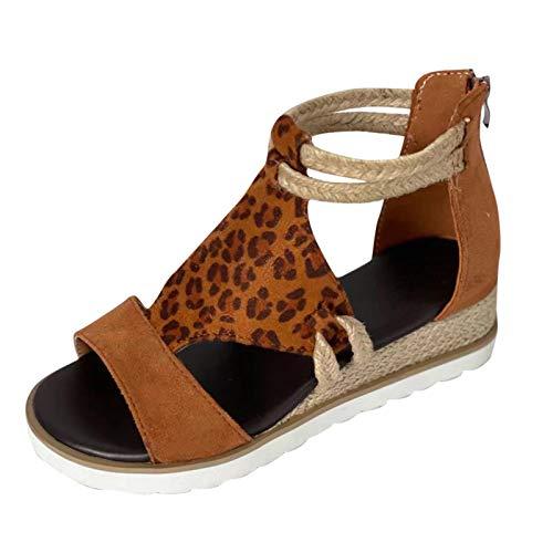 RTPR Sandalias de mujer con cuña y cremallera en la puntera abierta, sandalias romanas, sandalias elegantes de verano para mujer, marrón, 40 EU