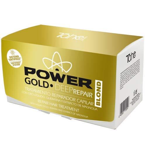 Tahe Deep Repair Blond Power Gold Mask Reparador Capilar Anti-Encrespamiento y Neutralizador de Color con Oro Líquido y Keratina Tratamiento para Cabellos Rubios 6 x 10 ml