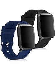 kwmobile 2x bandje compatibel met Huami Amazfit Bip/Bip Lite - Horlogeband van TPU en siliconen voor fitnesstracker in zwart/donkerblauw