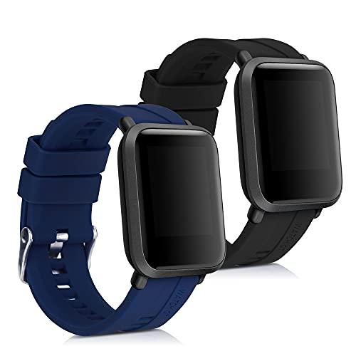 kwmobile Pulsera Compatible con Huami Amazfit Bip/Bip Lite - 2X Correa de TPU para Reloj Inteligente - Negro/Azul Oscuro