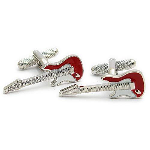 Boutons de manchette rouges en forme de guitare électrique
