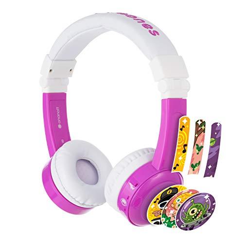Auriculares para Niños con 3 Niveles de Limitador de Volumen de Onanoff - Inflight Pegable Modelo   Microfono Integrado, Bolsa de Viaje, Adaptador para Vuelo   Diadema Ajustable   Morado