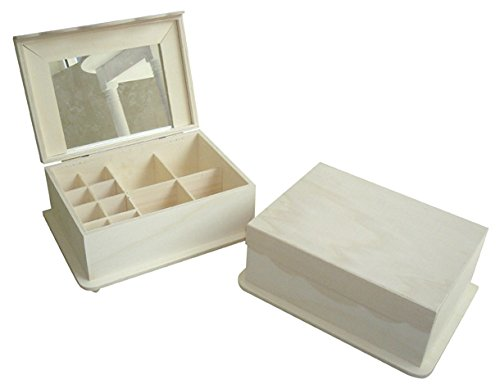 greca Caja joyero de Madera. con Espejo y departamentos en el Interior. Madera en Crudo, para Decorar. Medidas (Ancho/Fondo/Alto): 27 * 19 * 12 cm.