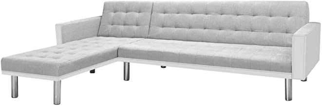 vidaXL Corner Sofa Bed Fabric White and Grey Living Room Couch Furniture