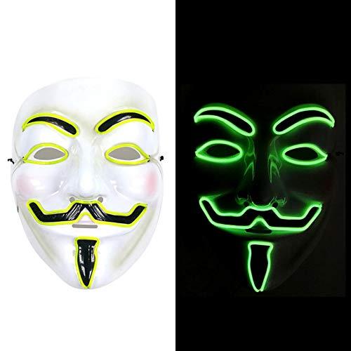 LEHOUR V per Maschera LED Vendetta Guy Fawkes Maschera per Feste Anonimo Halloween Light Up Maschera Unisex con Filo incandescente El (Verde)