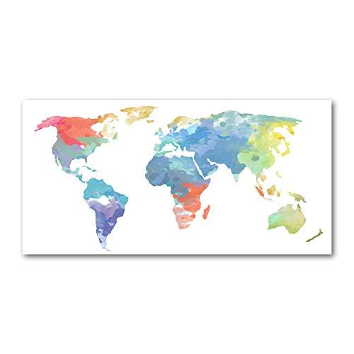 Tulup Glas-Bild Wandbild aus Glas - Wandkunst - Wandbild hinter gehärtetem Sicherheitsglas - Dekorative Wand für Küche & Wohnzimmer 120x60 - Landkarten & Flaggen - Weltkarte - Mehrfarbig