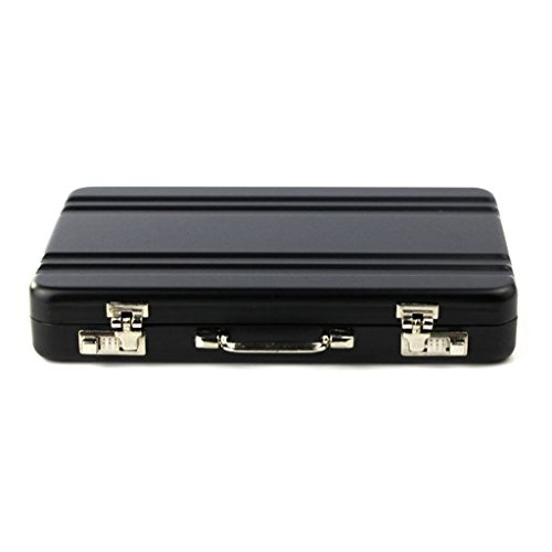 Tonsee Metal Mini Briefcase, Card Holder Case Box (Black)