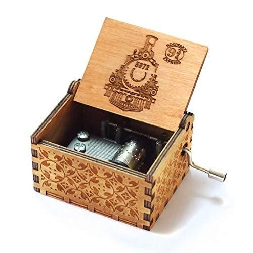 Evelure Boîte à musique en bois avec motif croix et plateformes 9 et 3/4