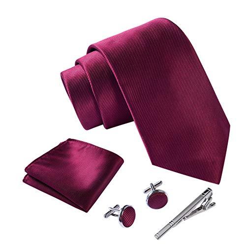 Massi Morino ® Herren Krawatte Set mit umfangreicher Geschenkbox rote rote dunkelrot rotfarben red dunkelrot knallrot bourdeauxrot bourdeauxfarben rotekrawatte dunkelrotekrawatte
