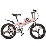 Axdwfd Infantiles Bicicletas Bicicleta para Niños, Marco De Acero Altamente Carbono, 18/20 Pulgadas para Niños Y Niñas, Adecuado para Niños De 7 A 14 Años, Tres Colores(Size:18in,Color:Rosa)