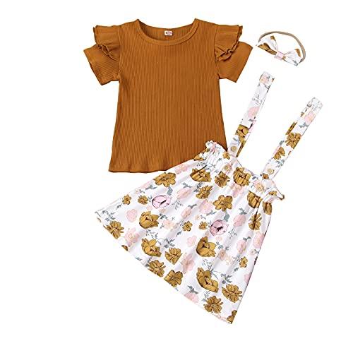 Conjunto de 3 piezas de ropa de Halloween de manga larga con lunares y falda de tirantes y diadema, marrón, 1-2 Años