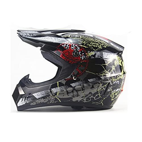 Casco Motocicleta Protección con Gafas/Guantes/Protector Facial Casco De Bicicleta Montaña Equipo De Protección Casco De Bicicleta para Niños,B-XL