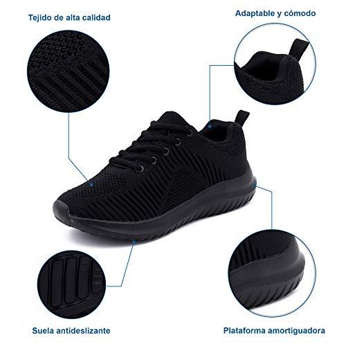 Zapatillas Deportivas para Mujer, Transpirables, para Correr (Negro, Numeric_38)